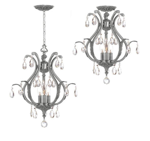 Crystorama Clear Hand Cut Crystal Chandelier 3 Lights - Pewter - 5560-PW-CL-MWP - PeazzLighting
