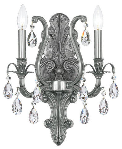 Crystorama 5563-PW-CL-MWP 2-Lights Clear Cut Crystal Wall Mount - Pewter - PeazzLighting