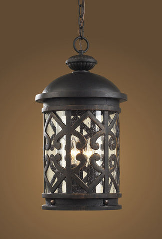 ELK Lighting 42063-3 Three Light Outdoor Pendant  In Weathered Charcoal And Clear Seeded Glass - PeazzLighting