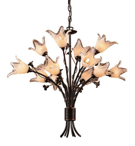 ELK Lighting Lighting 7959-8+4 Twelve Light Chandelier In Aged Bronze And Hand Blown Tulip Glass - PeazzLighting