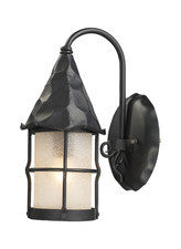 Landmark 381-BK Rustica One Light Outdoor Sconce in Matte Black with Scavo Glass - PeazzLighting
