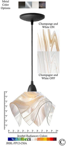 Jezebel Radiance Flame Pendant Small - Hardware Black - Glass Champagne, Beige & White - PeazzLighting