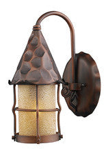 Landmark 381-AC Rustica One Light Outdoor Sconce in Antique Copper with Scavo Glass - PeazzLighting
