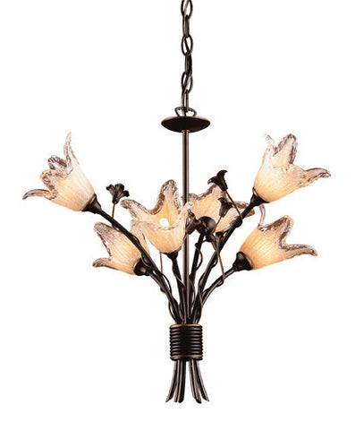 ELK Lighting Lighting 7958-6 Six Light Chandelier In Aged Bronze And Hand Blown Tulip Glass - PeazzLighting