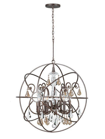 Crystorama 9028-EB-GS-MWP Solaris 6 Light Gold Crystal Bronze Sphere Chandelier I - PeazzLighting