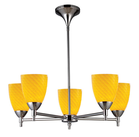 ELK Lighting Celina Celina 5-Light Chandelier In Polished Chrome And Canary Glass - 10155/5PC-CN - PeazzLighting