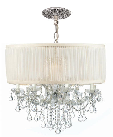 Crystorama Brentwood Chandelier Draped in Clear Swarovski SPECTRA Crystal & Accented with an Antique White Shade 8 Lights - Polished Chrome - 4489-CH-SAW-CLQ - PeazzLighting