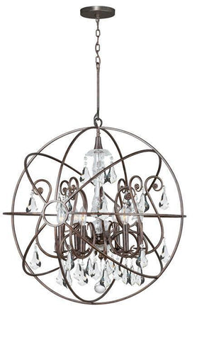 Crystorama 9028-EB-CL-MWP Solaris 6 Light Crystal Bronze Sphere Chandelier I - PeazzLighting