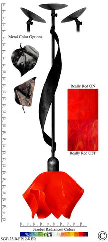 Jezebel Radiance® Sweetgrass Pendant. Hardware: Black. Glass: Really Red, Flame Style - PeazzLighting