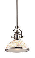 Landmark 66413-1 Chadwick One Light Pendant Polished Nickel and Cappa Shell - PeazzLighting