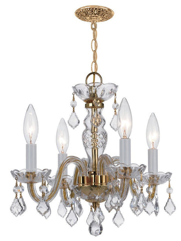 Crystorama Swarovski Spectra crystals with Polished Brass metal accents 4 Lights - Polished Brass - 1064-PB-CL-SAQ - PeazzLighting