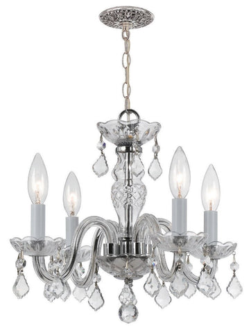 Crystorama Clear hand cut crystals with Chrome metal accents 4 Lights - Polished Chrome - 1064-CH-CL-MWP - PeazzLighting