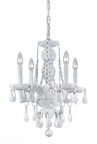 Crystorama All White glass arm Chandelier 4 Lights - Wet White - 1074-WW-WH-MWP - PeazzLighting