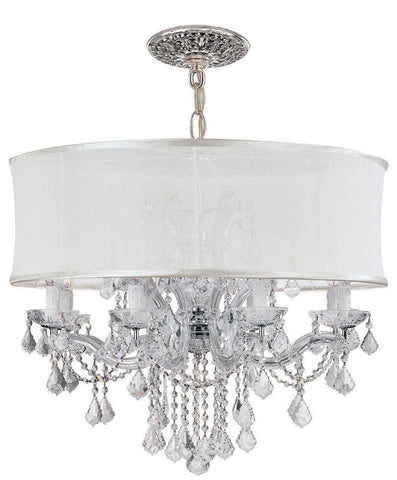 Crystorama Brentwood Chandelier Draped in Clear Hand Cut Crystal & Accented with a Smooth Antique White Silk Shade 8 Lights - Polished Chrome - 4489-CH-SMW-CLM - PeazzLighting