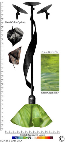 Jezebel Radiance® Sweetgrass Pendant. Hardware: Black. Glass: Grass Green, Lily Style - PeazzLighting
