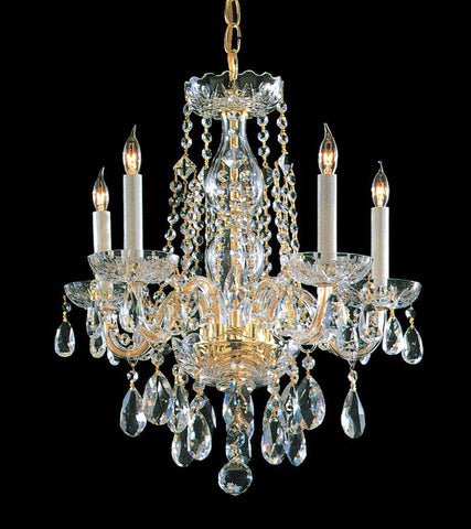 Crystorama Swarovski Elements Crystal Chandelier 5 Lights - Polished Brass - 1061-PB-CL-S - PeazzLighting