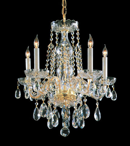Crystorama Swarovski Spectra Crystal Chandelier 5 Lights - Polished Brass - 1061-PB-CL-SAQ - PeazzLighting