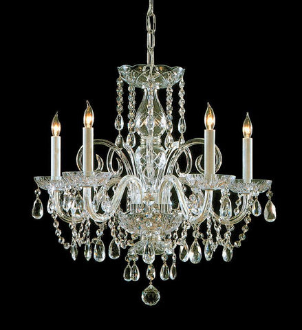 Crystorama Swarovski Spectra Crystal Chandelier 5 Lights - Polished Brass - 1005-PB-CL-SAQ - PeazzLighting