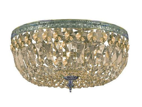 Crystorama 714-AG-GT-MWP 3-Lights Golden Teak Hand Cut Crystal Basket - Aged Brass - PeazzLighting