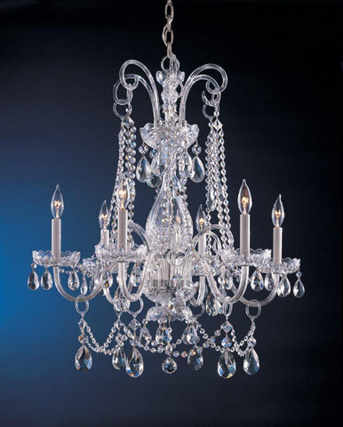Crystorama Crystal chandelier with Clear Swarovski Spectra crystal 6 Lights - Polished Chrome - 1030-CH-CL-SAQ - PeazzLighting