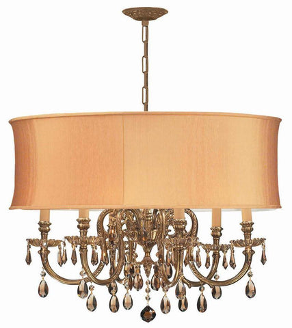 Crystorama Ornate Cast Brass Chandelier Accented with Golden Teak Hand Cut Crystal & Harvest Gold Shade 6 Lights - Olde Brass - 2916-OB-SHG-GTM - PeazzLighting