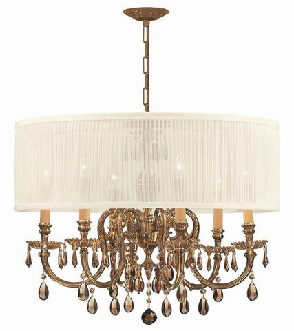 Crystorama Ornate Cast Brass Chandelier Accented with Golden Teak Hand Cut Crystal & Antique White Shade 6 Lights - Olde Brass - 2916-OB-SAW-GTM - PeazzLighting