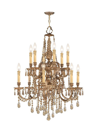 Crystorama Ornate Cast Brass Chandelier Accented with Golden Teak Strass Crystal 6 Lights - Olde Brass - 2812-OB-GTS - PeazzLighting