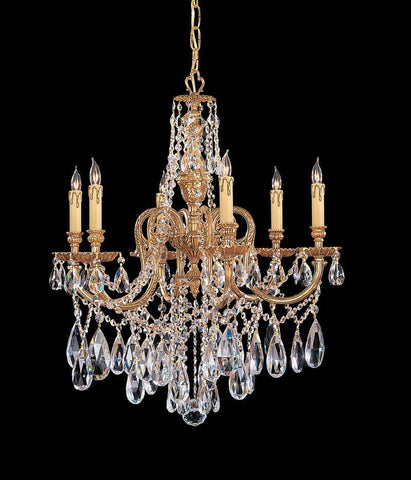 Crystorama Ornate Cast Brass Chandelier Accented with Clear Hand Cut Crystal 6 Lights - Olde Brass - 2706-OB-CL-MWP - PeazzLighting