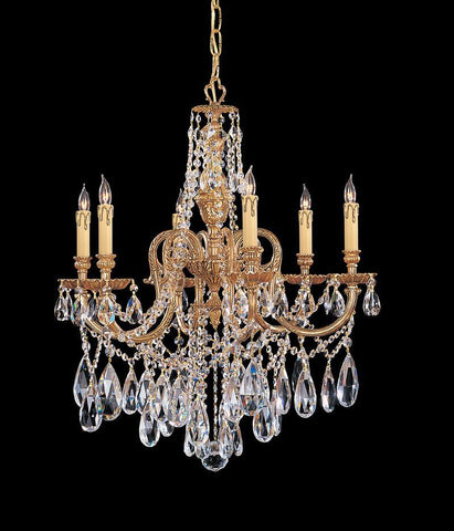 Crystorama Ornate Cast Brass Chandelier Accented with Swarovski Elements Crystal 6 Lights - Olde Brass - 2706-OB-CL-S - PeazzLighting