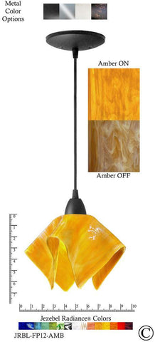 Jezebel Radiance Flame Pendant Small - Hardware Black - Glass Amber Gold Yellow - PeazzLighting