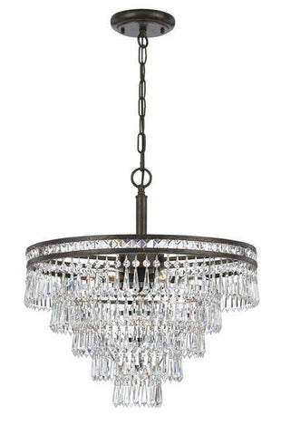 Crystorama 5264-EB-CL-MWP Mercer 6 Light Hand Cut Crystal Bronze Chandelier - PeazzLighting