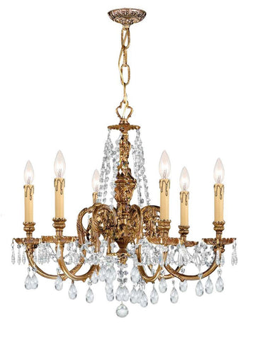 Crystorama Ornate Cast Brass Chandelier Accented with Clear Hand Cut Crystal 6 Lights - Olde Brass - 2806-OB-CL-SAQ - PeazzLighting