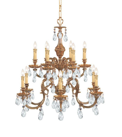 Crystorama Ornate Cast Brass Chandelier Accented with Swarovski Spectra Crystal 6 Lights - Olde Brass - 2912-OB-CL-SAQ - PeazzLighting