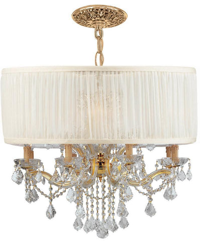 Crystorama Brentwood Chandelier Draped in Clear Hand Cut Crystal & Accented with an Antique White Shade 8 Lights - Gold - 4489-GD-SAW-CLM - PeazzLighting