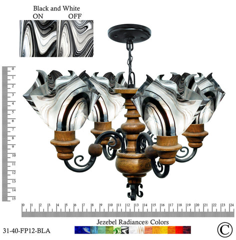 Jezebel Radiance® Flame Vineyard Chandelier. Glass: Black and White - PeazzLighting