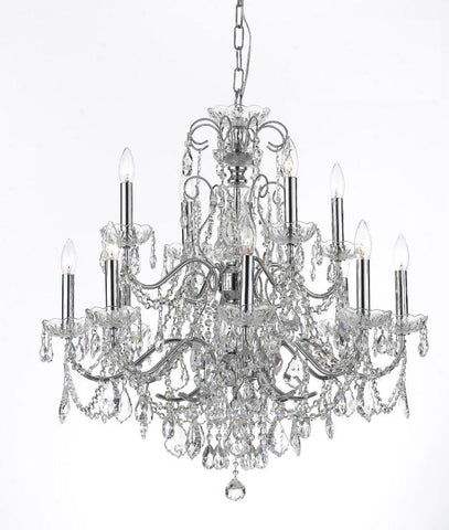 Crystorama Solid Brass Crystal Chandelier Accented with Swarovski Spectra Crystal 8 Lights - Polished Chrome - 3228-CH-CL-SAQ - PeazzLighting