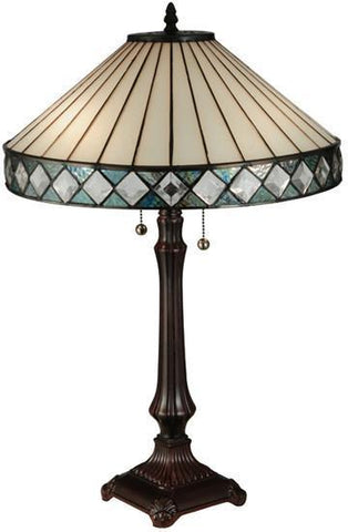 "Meyda Tiffany 134537 25""H Diamondring Table Lamp - PeazzLighting"