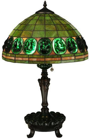"Meyda Tiffany 134539 24""H Turtleback Green Table Lamp - PeazzLighting"