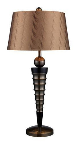 Dimond D1738 Laurie Table Lamp In Dunbrook And Dark Wood With March Bronze Shade And Golden Beige Liner - PeazzLighting