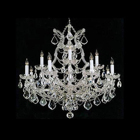 Crystorama Maria Theresa Chandelier Draped in Swarovski Spectra Crystal 12 Lights - Polished Chrome - 4412-CH-CL-SAQ - PeazzLighting