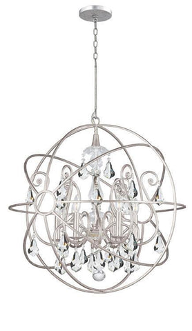 Crystorama 9028-OS-CL-MWP Solaris 6 Light Crystal Silver Sphere Chandelier I - PeazzLighting