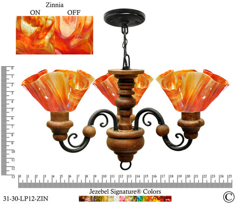 Jezebel Signature® Floral Vineyard Chandelier. Glass: Zinnia - PeazzLighting