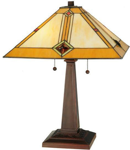 "Meyda Tiffany 138110 22""H Diamond Mission Table Lamp - PeazzLighting"
