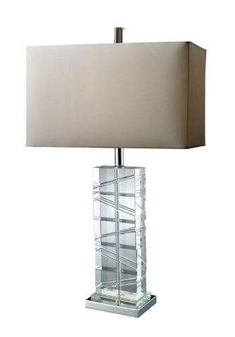 Dimond D1813 Avalon Clear Crystal And Table Lamp With Pure White Shade And Pure White Liner - PeazzLighting
