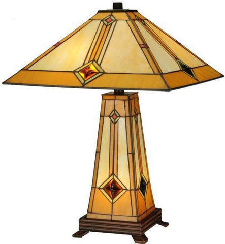 "Meyda Tiffany 138111 23""H Diamond Mission Lighted Base Table Lamp - PeazzLighting"