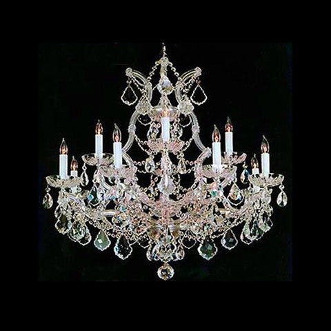 Crystorama 4412-GD-CL-MWP 12-Lights Maria Theresa Chandelier Draped In Hand Cut Crystal - Gold - PeazzLighting