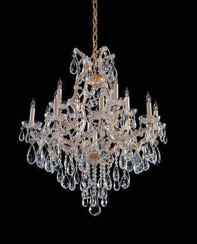 Crystorama 4413-GD-CL-MWP 12-Lights Maria Theresa Chandelier Draped In Hand Cut Crystal - Gold - PeazzLighting