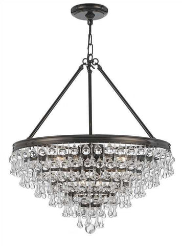 Crystorama 137-VZ Calypso 8 Light Crystal Teardrop Bronze Chandelier - PeazzLighting