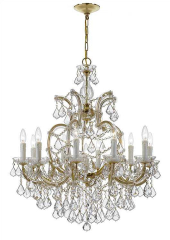 Crystorama 4438-GD-CL-SAQ Maria Theresa 11 Light Swarovski Spectra Gold Chandelier - PeazzLighting