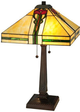 "Meyda Tiffany 138117 23""H Parker Poppy Table Lamp - PeazzLighting"